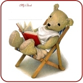 Bear Reading a Book Bookplates For Kids